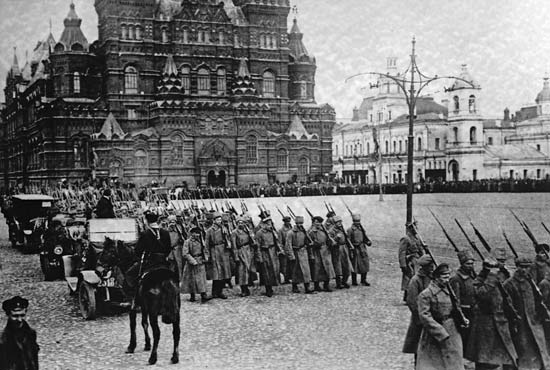 The history of the Soviet Union: Bolshevik forces marching on Red Square